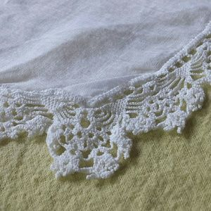 Vintage Embroidered Edge Cotton 1950s Kerchief